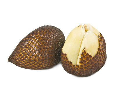 Isolated close-up zoom delicious exotic asian snake fruit food, as known as salak fruits. photo