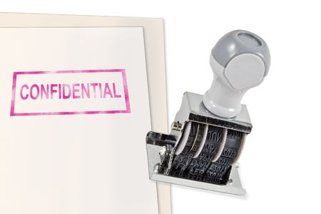 Isolated white background confidential secret rubber stamp for office supply.