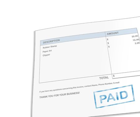 account statements: Isolated white background paid invoice for office supply.