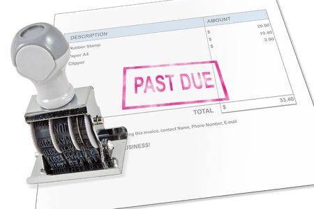 revised: Isolated white background past due rubber stamp for office supply. Stock Photo