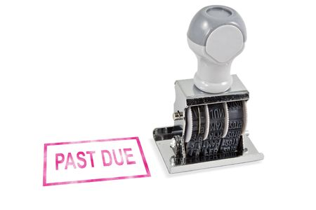past due: Isolated white background past due rubber stamp for office supply. Stock Photo