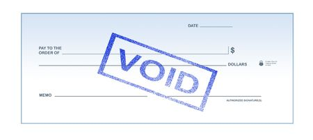 revised: Isolated white background void blank check stamp for office supply. Stock Photo