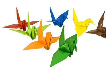 Colorful isolated bird origami with white background. Stock Photo