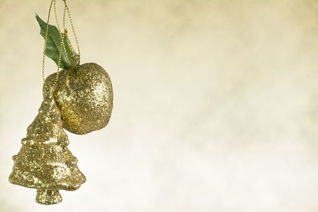 Isolated gold christmas tree and apple decoration white background, merry christmas. photo