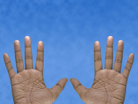 bodypart: Blue background five fingers open two hand, white background.