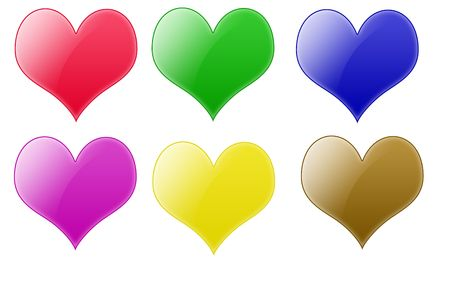 Isolated white background rounded heart web 2.0 buttons glow glossy label. Stock Photo - 5450296