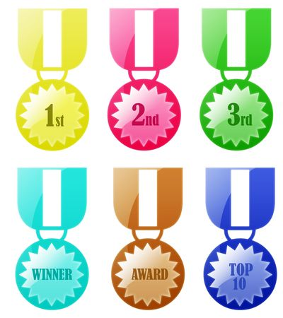 Isolated white background rounded badge award medal web 2.0 buttons glow glossy label. photo