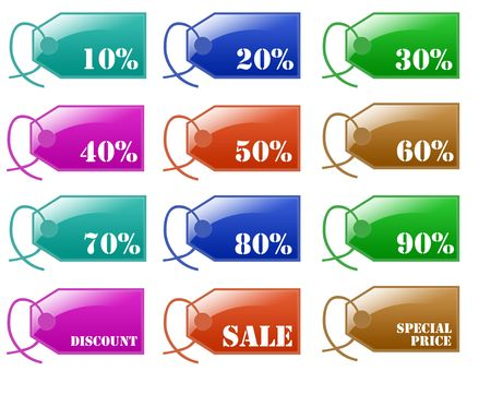Isolated white background sale discount label web 2.0 buttons glow glossy label. photo