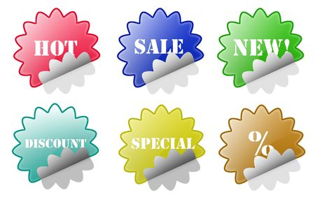 Isolated white background sale discount stickers web 2.0 buttons glow glossy label. photo