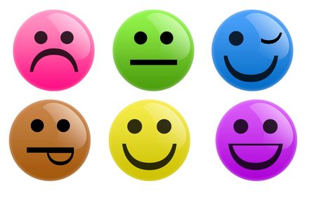 Isolated white background web 2.0 smiley buttons glow glossy label. photo