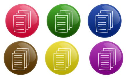 Isolated white background web 2.0 document buttons glow glossy label.