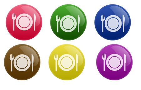 Isolated white background web 2.0 restaurant buttons glow glossy label.
