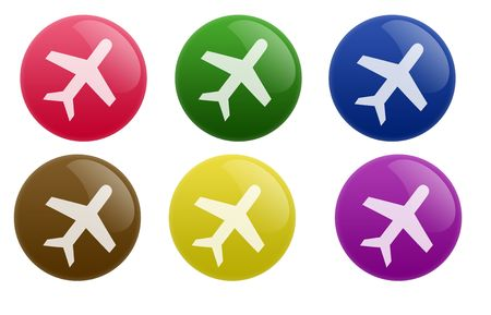 Isolated white background web 2.0 travel buttons glow glossy label. photo
