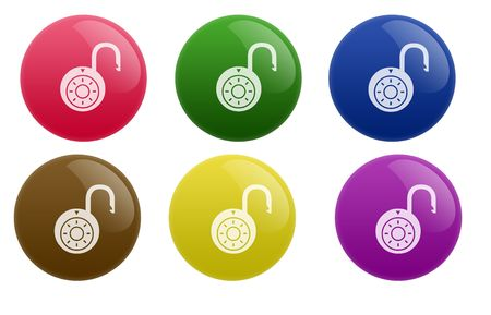 unprotected: Isolated white background web 2.0 unlock buttons glow glossy label.