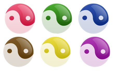 Isolated white background web 2.0 yin yang buttons glow glossy label. photo