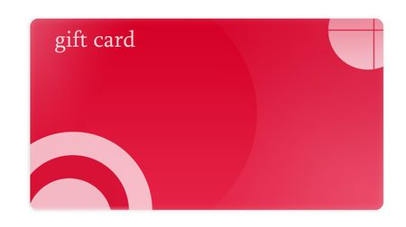 Isolated white background red gift card for your business. photo