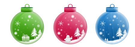 Isolated white background glossy three christmas ball web 2.0 buttons glow glossy label. Stock Photo - 5520180
