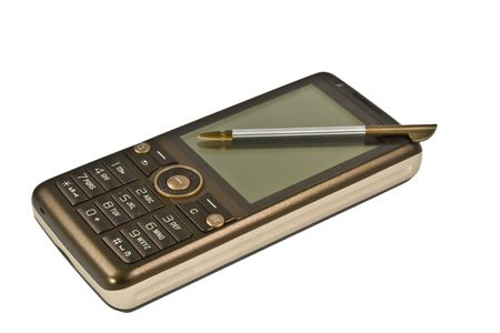 Isolated brown mobile phone with stylus touch screen cellular with white background.