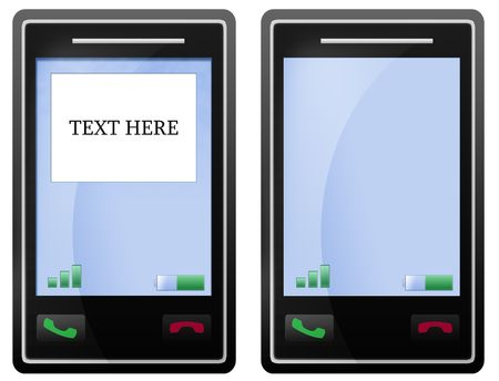 Isolated black mobile phone with touch screen cellular with white background, for sms texting text. photo