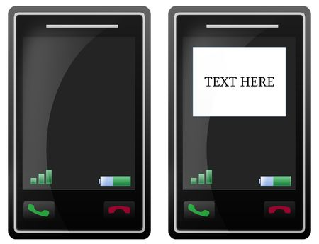 Isolated black mobile phone with touch screen cellular with white background, for sms texting text. Stock Photo - 5520739