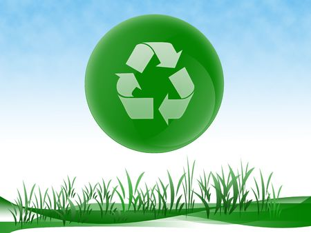 Green ecology design recycle able logo, go green concept with copy space.