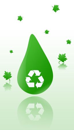 Ecology recycling symbols, environmental with green leaf falling.