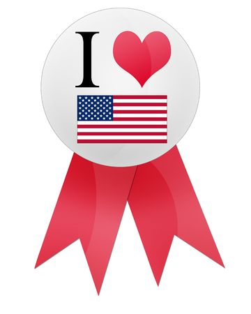 flag pin: Isolated blank I love america flag, pin badge with white background.