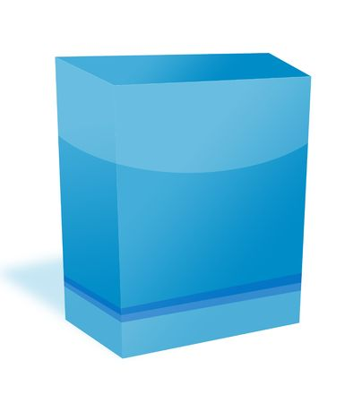 Blue blank software box container isolated with white background.