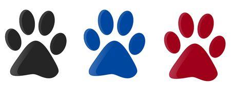 huellas de perro: Tres huellas colorido aislados con fondo blanco.