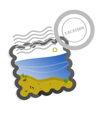 Isolated vacation post postage stamp with white background illustration.