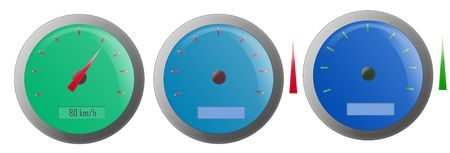 rotations: Three speedometers illustrations isolated with white background.