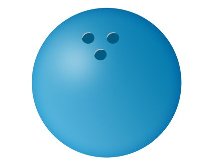 Isolated blue bowling ball illustration with white background. Stock Photo