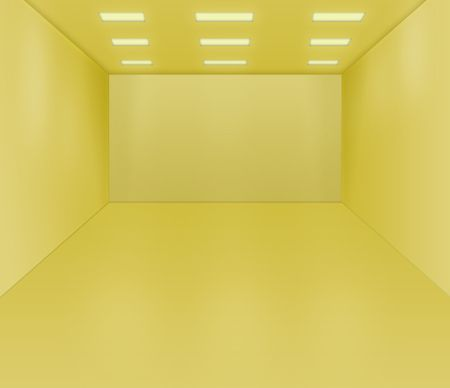 Yellow empty room illustration interior and architecture.