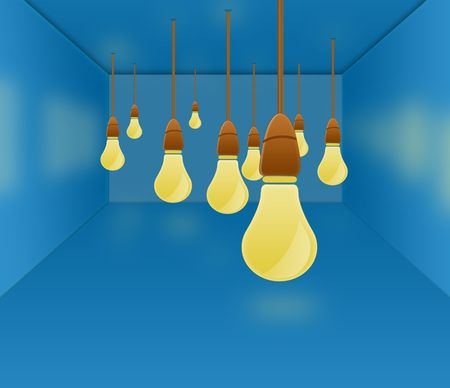 Concept of empty room with full of idea with many hanging lamps. photo