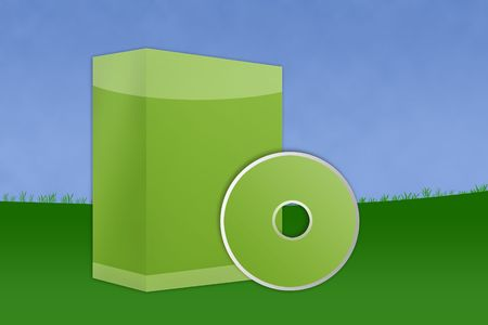 Green blank software box container with landscape and blue sky. Stock Photo