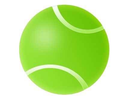 Isolated green tennis ball illustration with white background.