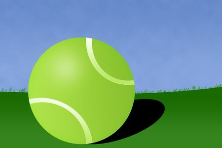 Court green tennis ball illustration with white background.