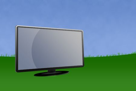 Blank LCD monitor with green landscape and blue sky background.