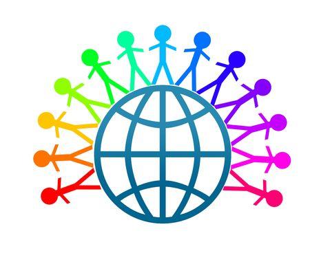 paz mundial: Cadenas de paz mundial de Colorfull con fondo blanco.