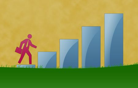 Business growth illustration with walking in the ladder.