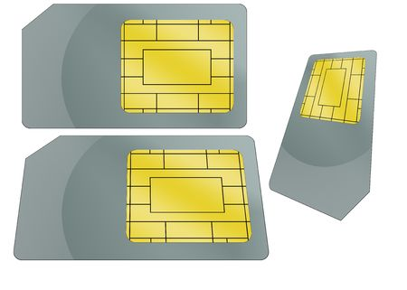 Isolated sim card illustration with white background for communication.