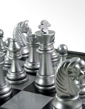 chess king in the crowd in the chess board ready to fight. Stock Photo