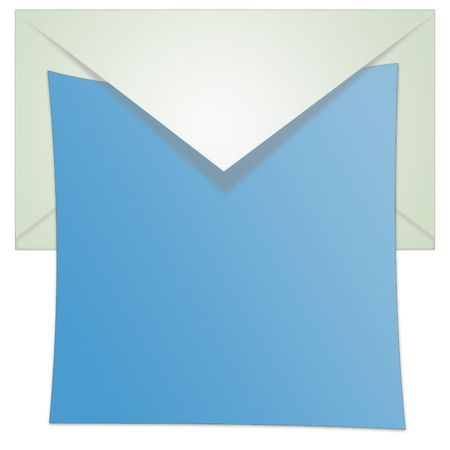 Isolated opened envelope illustration with white background and blue paper.