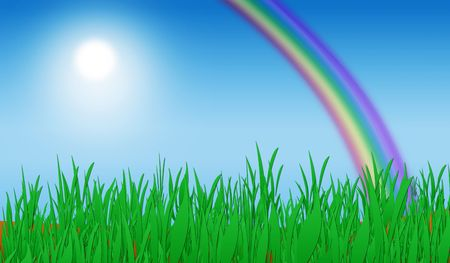 Green grass with blue sky and rainbow background illustration.