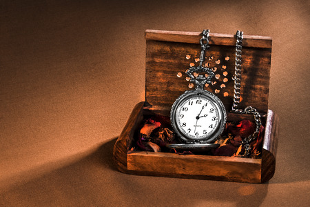 taillight: antique clock in wooden box and taillight