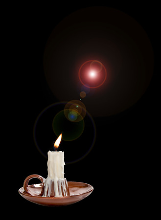 candle in candlestick with colored circles Reklamní fotografie