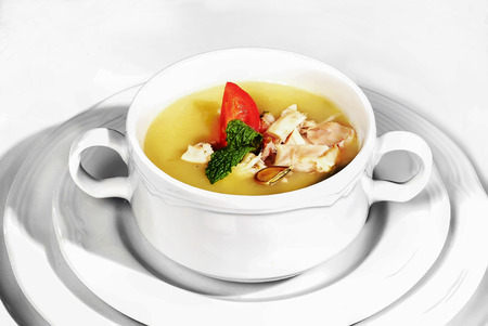 cream soup with white dishes
