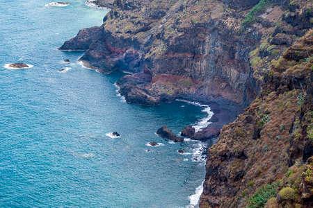 Small black sand beach in Tenerife, Canary Islands, Spain