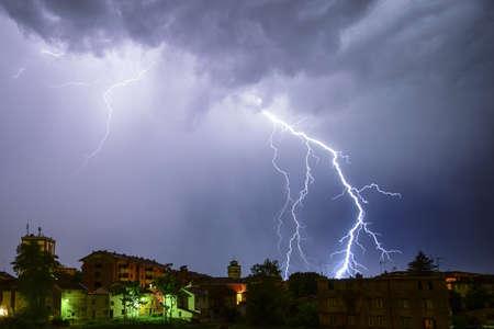 lightning storm during a winter night
