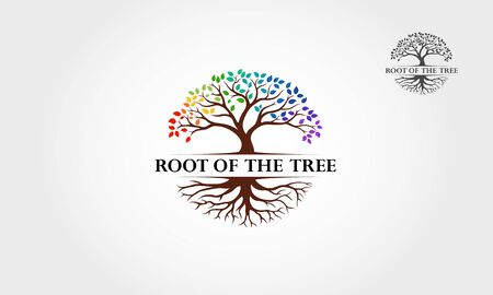 Root Of The Tree Rainbow - vector logo illustration. This logo symbolize a protection, peace,tranquility, growth, and care or concern to development.